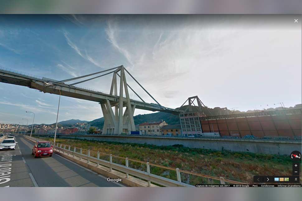 Google maps come appariva il ponte morandi di genova for Disegni di ponte a 2 livelli